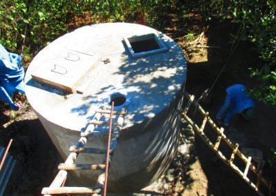 Vista superior del tanque de ferrocemento